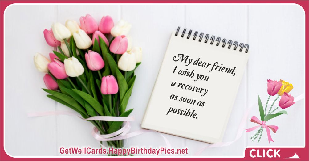 Recovery Wish for a Sick Friend - Recovery Wish Card