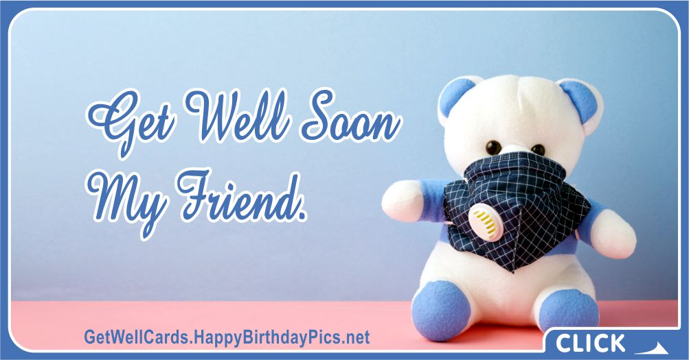 Get Well Soon Card with Face Mask - Recovery Wish Card