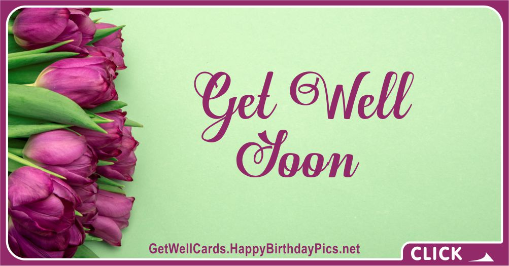 Get Well Soon Card with Purple Tulips - Get Well Card