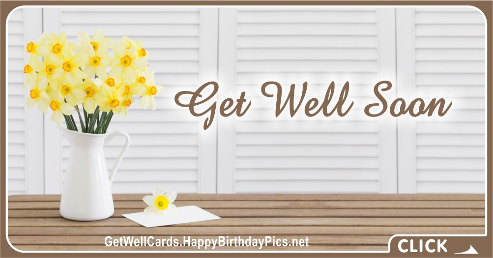 Get Well Soon Card with Brown Design - Recovery Wish Card